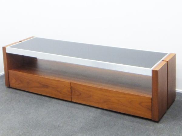 TVボード 大型対応 天盤ガラス仕様 サイレントモーション ウォールナット